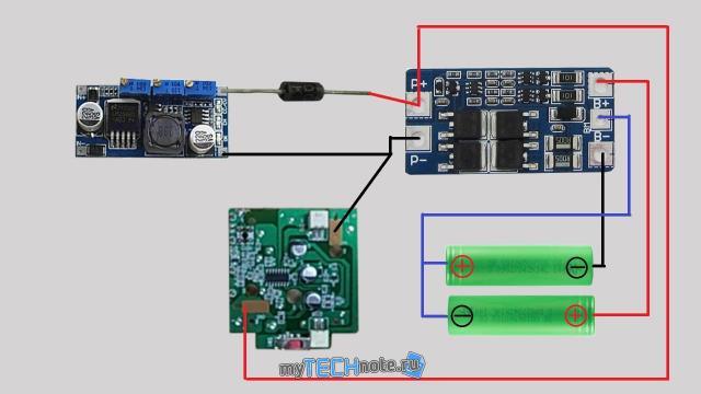Тюнинг детской радиоуправляемой машинки (переделка на Li Ion аккумуляторы) - схема подключения